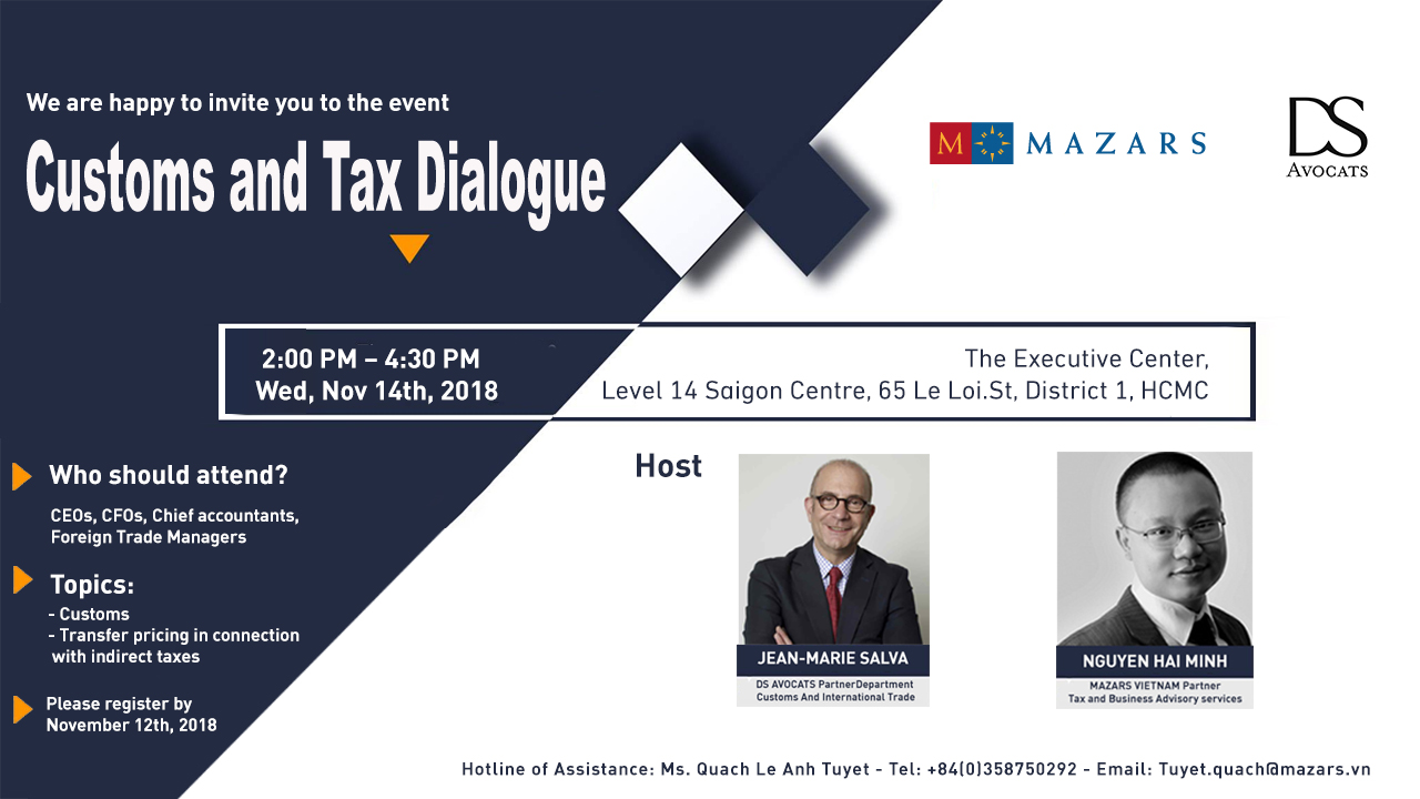 Customs & Tax Dialogue 2018 - by Mazars and DS Avocats